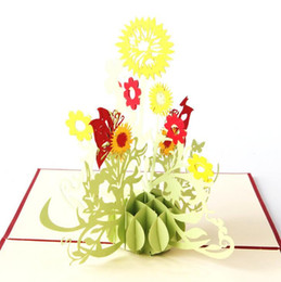 Wholesale Gift Flowers Wedding Invitations - 3D Paper Laser Cut Carving Handmade Sun Flower PostCard Greeting Cards Wedding Party Invitation Card Valentine's Day Gift