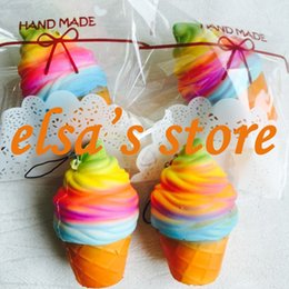Wholesale Kids Phone Toys - squishy wholesale 20pcs rare squishy kawaii colorful icecream slow rising with retail package kid toys gift phone strap Free Shipping
