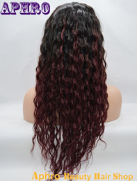 Wholesale Curly Cheap Tone Wigs - Cheap Two Tone Curly Brazilian Human Hair 99J Silk Top Full Lace Wigs 130% Density Glueless Virgin Hair Ombre Lace Front Wigs With Baby Hair