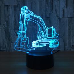 Wholesale Aa Boxes - Excavator 3D Illusion LED Lamp Night Light 7 RGB Lights DC 5V USB Powered AA Battery Dropshipping Retail Box