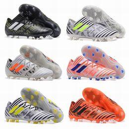 Wholesale Plain Football Tops - New ACE Nemeziz 17+ Purecontrol Men Shoes ACC Nemeziz 17.1 FG Shoes High Tops Soccer Boots Laceless Soccer Cleats Football Boots
