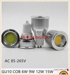 Canada YON 10pcs DIMMABLE COB Haute Puissance CREE GU10 MR16 6W 9W 12W 15W LED COB ampoule de lampe de projecteur supplier led 12v mr16 15w Offre