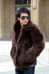 Wholesale Fox Fur Coats Men - Fall-Mens Faux Fox Fur Coat Cute Brand Elegant Men Waterproof Faux Fur Coat Turn-down Collar Casual Outerwear Solid Color D298