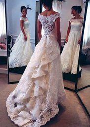 Wholesale White Elegant Scarves - A line Wedding Gowns 2017 Lace Simple Elegant Wedding Dresses Scarf Greek Style Gracism Bridal Gowns