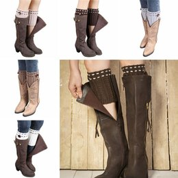 Wholesale Popular Girls Boots - Wholesale- Winter 2017 New Girls Women Trendy Knitted Button Lace Leg Warmers Trim Boot Cuffs knee Socks popular meias harajuku