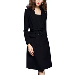 Wholesale Xl Ladies Clothing Down Coat - New Autumn Winter Women Trench Coats Slim Solid Long Outerwear Coat Clothing For Lady Turn-down Collar Trench