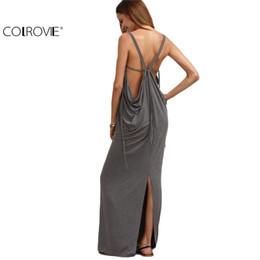 Wholesale Wholesale Club Wear Dresses - Wholesale- COLROVIE Summer Female Grey V Neck Backless Split Maxi Dress Beach Wear Solid Sleeveless Backless Plunge Long Dress