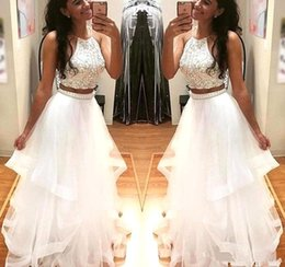 Wholesale two piece evening peplum dress - 2018 Two Pieces Prom Dresses white Sexy halter backless homecoming dress Fashion floor length beaded formal Evening Wear prom Party gowns