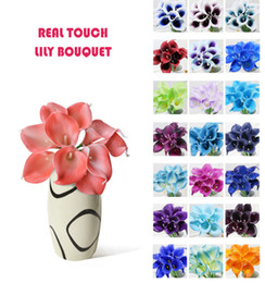 Wholesale wholesale artificial flowers vases - Wholesale 50pcs MOQ Real Touch Lily Simulation Wedding Flower Bouquets Artificial Calla Lily for Bridal and Home Decoration (no vase)