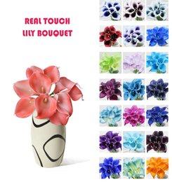 reale berührung blumen großhandel Rabatt Großhandel 50 stücke MOQ Real Touch Lily Simulation Hochzeit Blumensträuße Künstliche Calla Lily für Braut und Dekoration (keine vase)