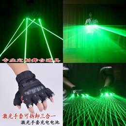 Wholesale Single Beam Laser Lights - Free Shipping multifuncation 3 in 1 LED Laser Gloves Green Light Dancing Stage Show DJ club Party single multi beams plane