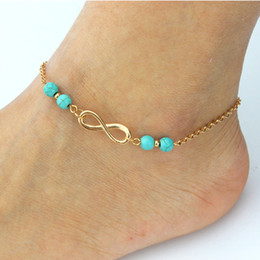 Wholesale Copper Turquoise Bracelet - 18K Yellow Gold Plated Infinity 8 Shape Turquoise Beads Fashion Anklet Bracelet for Women Girls Summer Beach Foot Jewelry