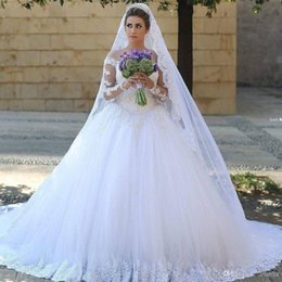 Wholesale Pricess Wedding Dresses - Long Sleeves 2016 Lace Wedding Dresses Arabic Dubai Vintage Pricess Ball Gown Bridal Gowns With Sheer Illusion Crew Neck Covered Button Back