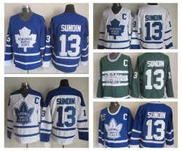 Wholesale Vintage Patches - Throwback Mats Sundin Jerseys #13 Toronto Maple Leafs Jersey Vintage Classic 75th Anniversary Mats Sundin Hockey Jersey Embroidery C Patch
