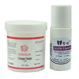 Wholesale Acrylic Liquid 75ml - Wholesale- New 75ml Acrylic Liquid Monomer 120g COSCELIA Acrylic Powder Set For Crystal UV False Fake Nail Art Salon Tool Manicure