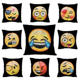 Wholesale Sofa Cotton Cushion Covers - New Double Color Emoji Sequins Pillow Case Fashion Face Expression Pillow Covers Home Decor Sofa Car Cushion Bright Covers Decor