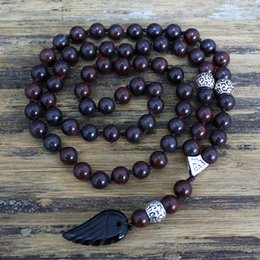 Wholesale Mens Rosaries - Wholesale- Quality 8MM Black Natural stone Beads with black stone wing Pendant Mens Rosary Necklace Wooden Beads Mens Mala jewelry