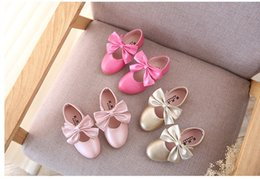 Wholesale Shose Girls - 2017 New baby bows foreign trade pink golden peach color girls shose B4543