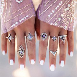 Wholesale Geometry Rings - Women's Seven Suit Restoring Ancient Ways Ring Purple Gems Hollow Out Carving Suit Ring Wholesale Geometry Joints Suit