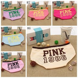 Wholesale Girls Blue Underwear - PINK 1986 Underwear Pink Letter Candy Color Cotton Underwear Women Briefs Girls Knickers Underpants Panties 6 colors 100pcs OOA1054