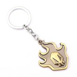 Wholesale Ring Pillars - 10 pcs BLEACH Key Chain Fire Key Rings For Gift Chaveiro Car Keychain Jewelry Anime Key Holder Souvenir YS11494