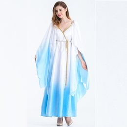 Wholesale Masquerade Costumes Wholesale - Cosplay Festival Costume Cleopatra Greek Goddess Dresses White Loose Style Stage Costume Polyester Masquerade Costume Dress