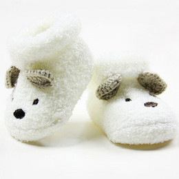 Wholesale Newborn Baby White Socks - Wholesale- 2016 Hot Newborn Baby Unisex Boy Girls Infant Cute Bear Crib Winter Thick Warm Comfortable Cotton White Socks Shoes 0 -12 Months