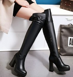 Wholesale Girl Knee High Boots Snow - New Arrival Hot Sale Specials Influx Sweet Girl Sexy Spike Retro Super Leather Size Zip Plus Velvet Martin Platform Knee Boots EU34-43