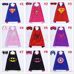 Wholesale Stage Masks - 72 Styles Double Layer Capes and masks Superhero Capes and masks Children Kids Capes Cosplay 70*70 CM Free Shipping