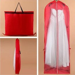 Wholesale Wholesale Gown Bags - 180*60*10cm Red Garment Bag for Wedding Dress Wedding Gown Non-woven Foldable Dust Cover Storage Carry-on Bag CCA6891 20pcs