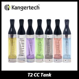 Wholesale T2 Clearomizer Wicks - Wholesale- 5pcs Kanger T2 Long Wick CC Clearomizer 2.4ml Tank Capacity 1.8ohm E-Cigs Atomizer eGo Thread 7 colors Avalible from Kangertech