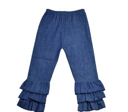 Wholesale Yellow Striped Tights - 2016 Direct Selling New 6 8 Wholesale Kids Triple Denim Ruffle Pants Holiday Baby Girl Cotton Solid Color Boutique Children Long Leggings