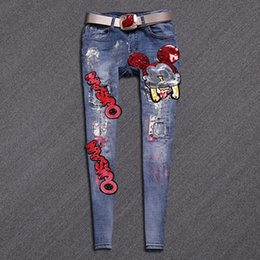 Wholesale Beading Jeans - Wholesale- Hot Sale Skinny Jeans Woman New Pencil Jeans Fashion Slim Blue Holes Pants Cartoon Letter Patchwork Denim Stretch Jeans A246