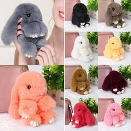 Wholesale New Boy Doll - New Pendant Bunny Rex Rabbit Fur Bag Handbag Keychain Pom Doll Ball Key Chain Ring Pendant Bag Keychain Xmas Gift 10 Colors