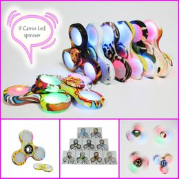 Wholesale Variety Toys Wholesale - 9 Color Camouflage Fidget Spinner with LED Light power swith variety lightling CAMO Hand spinner with retail box Magic Decompression Toy