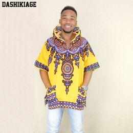 Wholesale Polka Dot Hoodies - Dashikiage Yellow Mens Hipster Hip Hop African Dashiki Fabric Elongated longline Hoodie t shirt Hoody