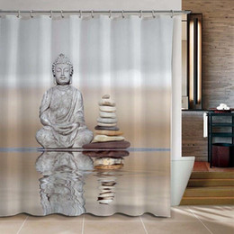 Wholesale Modern Curtains Designs - Wholesale- Shower Curtain Buddha & Pebble Reflection Design Bathroom Waterproof Mildewproof Polyester Fabric With 72 Inch +12 Hooks