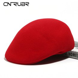 Wholesale British Noble Fashion - Wholesale-CN-RUBR Fall Winter Fashion Noble Berets Warm 100% Wool Solid Women Caps 6 Colors Casual Caps British Retro Hats