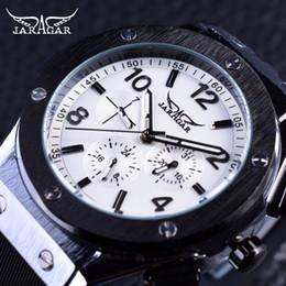 Wholesale Jaragar Silver - Jaragar Luxury Stainless Steel Design 3 Dial 6 Hand Men Watch Top Brand Luxury Automatic Mechanical Watches Silicone Wrist Watch