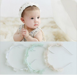 Wholesale Baby Wreaths - 2017 Cute Lovely Newborn Baby Crawling Children Pearl Flowers Hair Bands Hair Accessories Toddler Headdbands White Pink Green