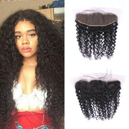 Wholesale virgin frontals - Deep Curly Lace Frontal Closure From Ear To Ear Virgin Malaysian Deep Wave Lace Frontals Baby Hair G-EASY