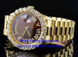 Wholesale Roman Factory - Factory wholesale high quality watches 18K Mens Yellow Gold President 36MM Roman Diamond Watch*007--072