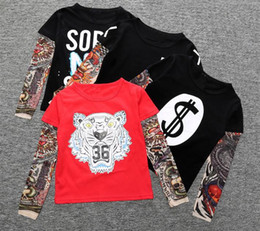 Wholesale Long Sleeve Tattoo Tops - Boy Clothes Cotton T-shirt Long Sleeve Children Tee Shirts Novelty Tattoo Sleeve Baby Boys Tops Spring&autumn Kids Clothing TOP1656