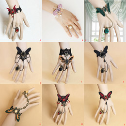 Wholesale Gothic Bracelets Rings - Gothic Punk Lace Butterfly Resin Rhinestone Bracelet Ring Sets Masquerade Party Hand Chain Women Charm Wristlet Hand Decor Props