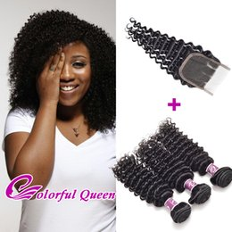 Wholesale Deep Wave Braid Hair - Unprocessed Virgin Raw Indian Curly Hair Weaves with Closure Indian Deep Wave Curly Human Hair Weaves with Closure Crochet Braids