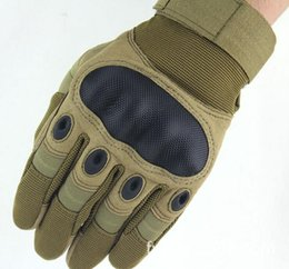 Wholesale Leather Mittens Fingers - 2017 Army Tactical Gloves Outside Trainning Gym Motocycle Sports Airsoft Leather Army Military Full Finger Mittens Outdoor Sport Hunt Mitten