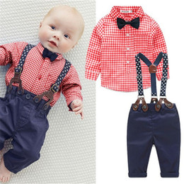 Wholesale Coloured Suspenders - Wholesale- 2017 New Baby Boy Spring Gentleman Plaid Clothing sets Suit Newborn Baby Bow Tie Shirt + Suspender Trousers formal party