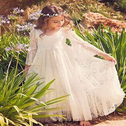 2019 flor menina verde vestido strass Pageant Vestidos Para Meninas Manga Longa Flor Menina Vestidos de Renda Branca Para Crianças Adolescentes Crianças Vestidos de Festa Comunhão Vestidos de Comunhão Vestidos