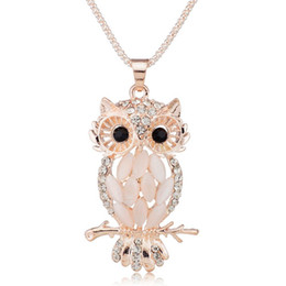 Wholesale Owls For Necklaces - Wholesale- 2016 Stylish Gallant Sparkling Owl Crystal Charming Flossy Necklaces Long Pendants Owl Necklace For Women collier femme