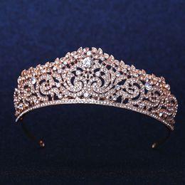 Wholesale Rose Gold Tiara - Rose Gold Plated Wedding Bridal Bridesmaid Flower Girls Crystal tiara Rhinestone crown   headband